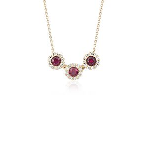 NEW Ruby and Diamond Halo Crown Necklace in 14k Yellow Gold (3.5mm)