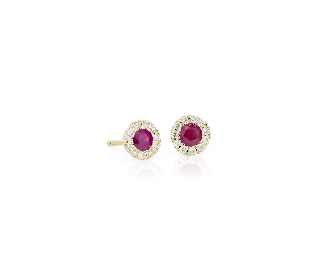 Pee Ruby And Diamond Halo Crown Stud Earrings In 14k Yellow Gold 3 5mm