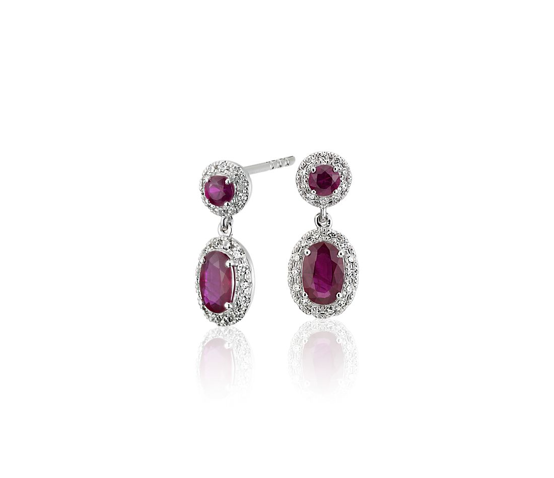 Ruby And Diamond Halo Drop Earrings In 14k White Gold
