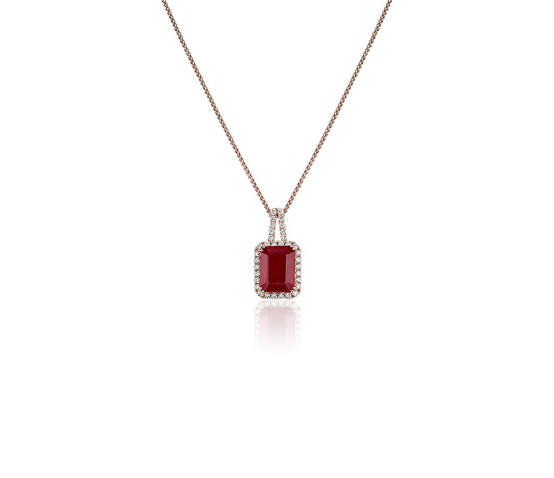Ruby and Diamond Halo Drop Pendant in 14k Rose Gold