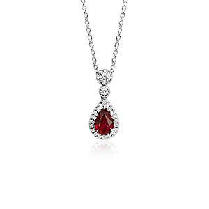 Colgantes de diamantes y rubí de talla pera en oro blanco de 18 k (6x4mm)