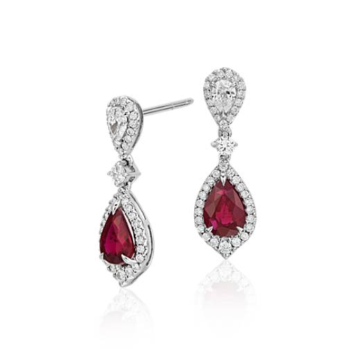 Ruby And Diamond Drop Earrings In 18k White Gold 6x4mm