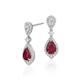 Ruby and Diamond Drop Earrings in 18k White Gold