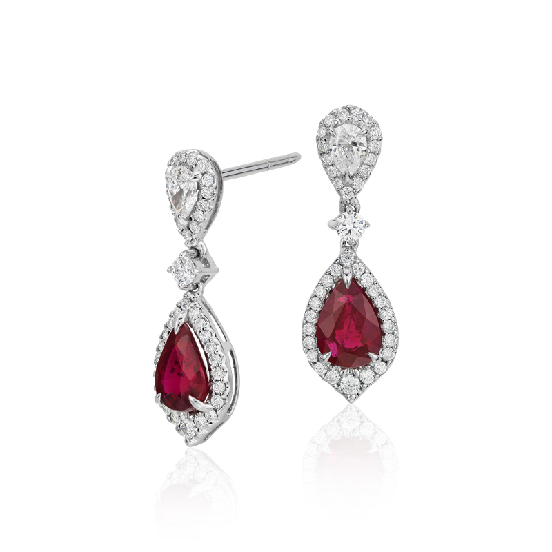 Ruby and Diamond Drop Earrings in 18k White Gold (6x4mm)