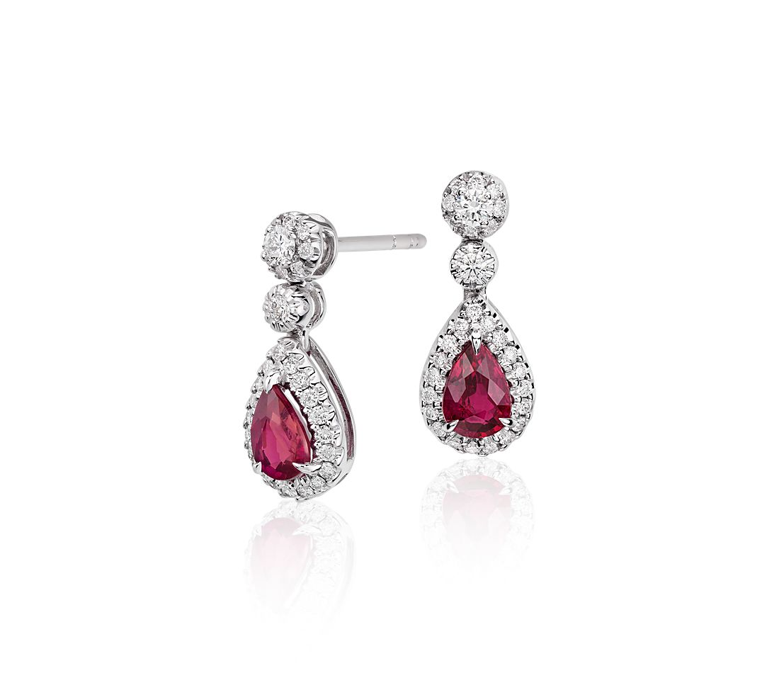 Ruby And Diamond Double Drop Earrings In 18k White Gold 6x4mm