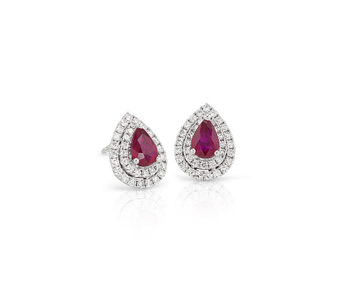 Ruby and Diamond Double Halo Earrings in 18k White Gold (6x4mm)