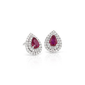 NEW Ruby and Diamond Double Halo Earrings in 18k White Gold (6x4mm)