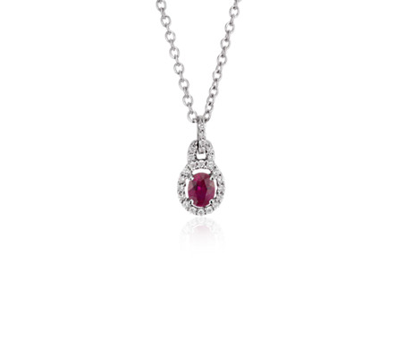 Ruby and Diamond Drop Pendant in 14k White Gold (5x4mm)