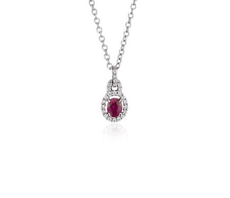 14k 白金红宝石与钻石吊式吊坠<br>(5x4毫米)