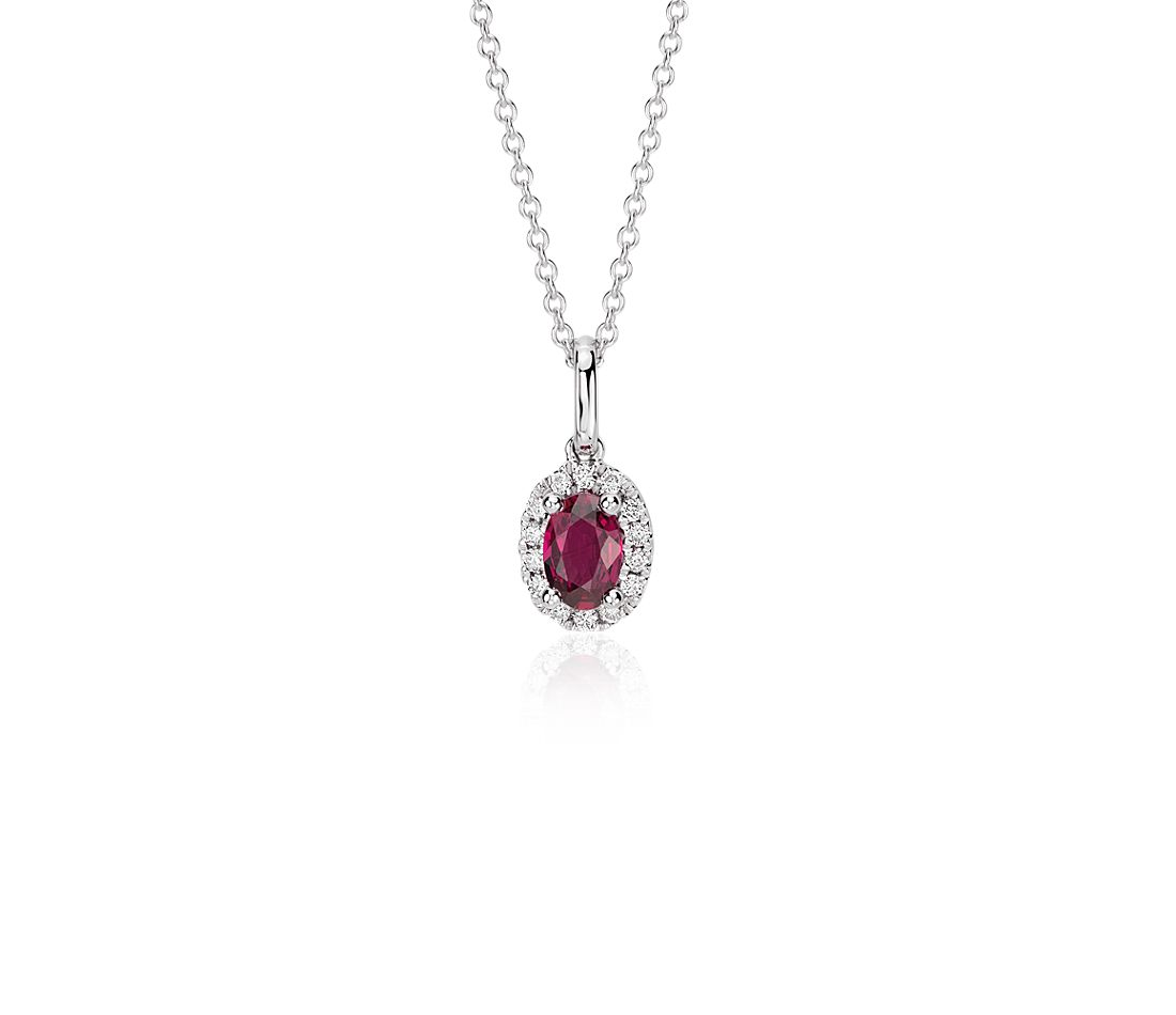 Ruby and Diamond Halo Pendant in 18k White Gold (6x4mm)