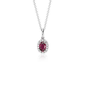 NEW Ruby and Diamond Halo Pendant in 18k White Gold (6x4mm)