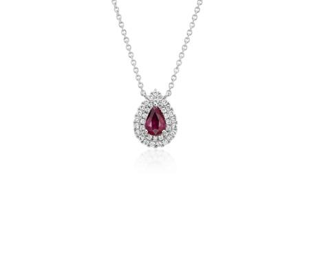 18k 白金 紅寶石與鑽石雙光環吊墜<br>( 6x4毫米)