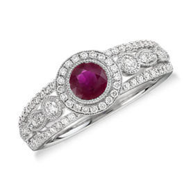 NEW Ruby and Diamond Halo Regal Ring in 14k White Gold (5mm)
