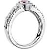 Ruby and Diamond Halo Regal Ring in 14k White Gold (5mm)