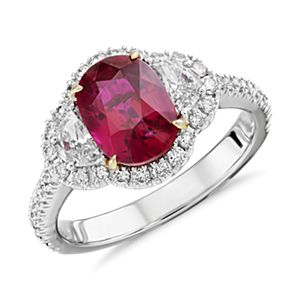 Ruby and Diamond Halo Ring in 18k White Gold (2.02 ct. center)