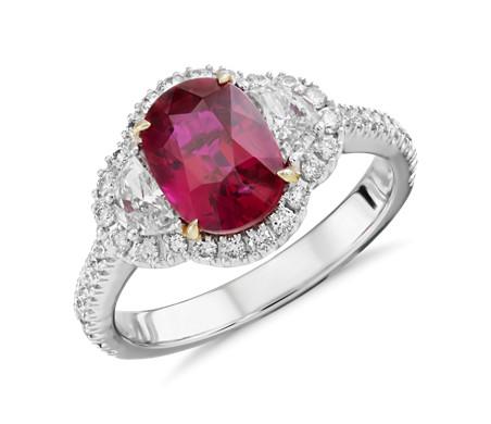 Anillo de halo de diamantes y rubí en oro blanco de 18 k (piedra central de 2.02 qt)