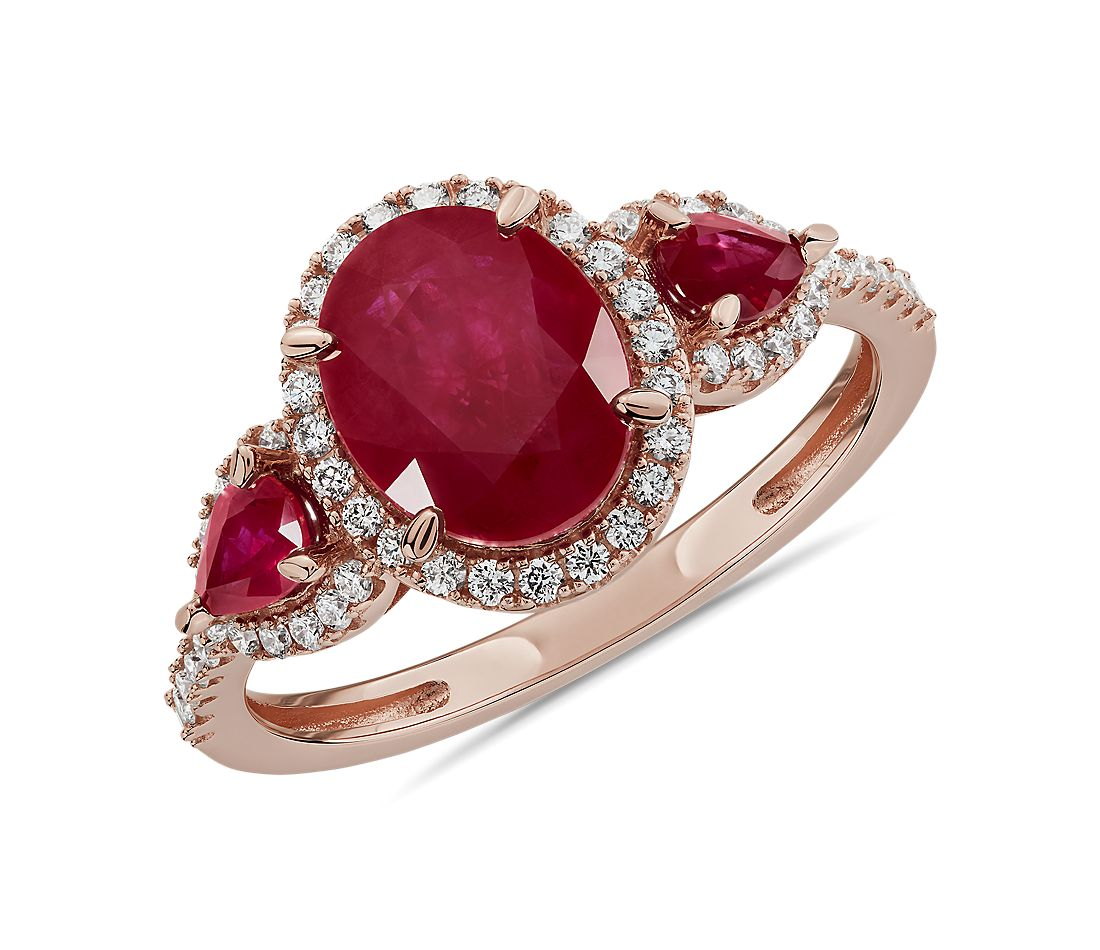 Ruby and Diamond Halo Three-Stone Ring in 14k Rose Gold
