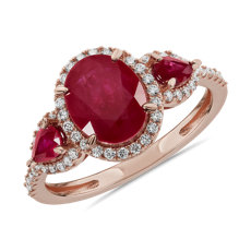 NEW Ruby and Diamond Halo Three-Stone Ring in 14k Rose Gold