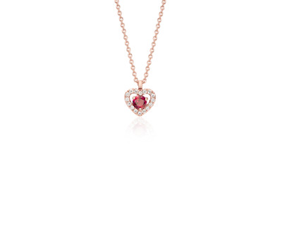 Petite Ruby and Diamond Heart Pavé Pendant