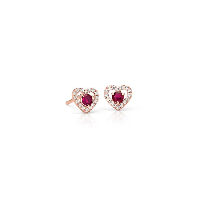 Petite Ruby and Diamond Pavé Heart Stud Earrings in 14k Ro