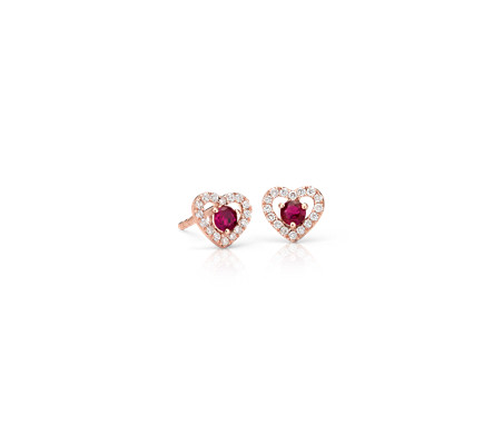 Petite Ruby and Diamond Pavé Heart Stud Earrings in 14k Rose Gold (2.5mm)
