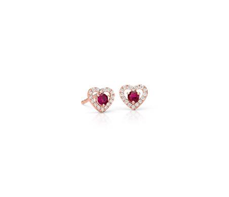 Petite Ruby and Diamond Pavé Heart Stud Earrings in 14k Rose Gold