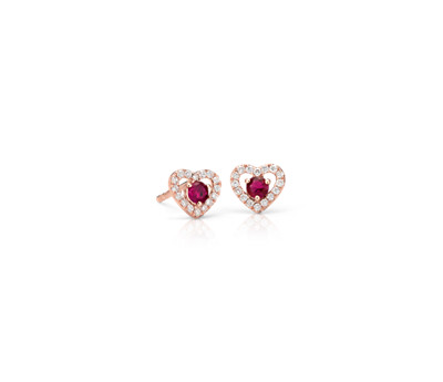 Petite Ruby and Diamond Pavé Heart Stud Earrings in 14k Rose Gold