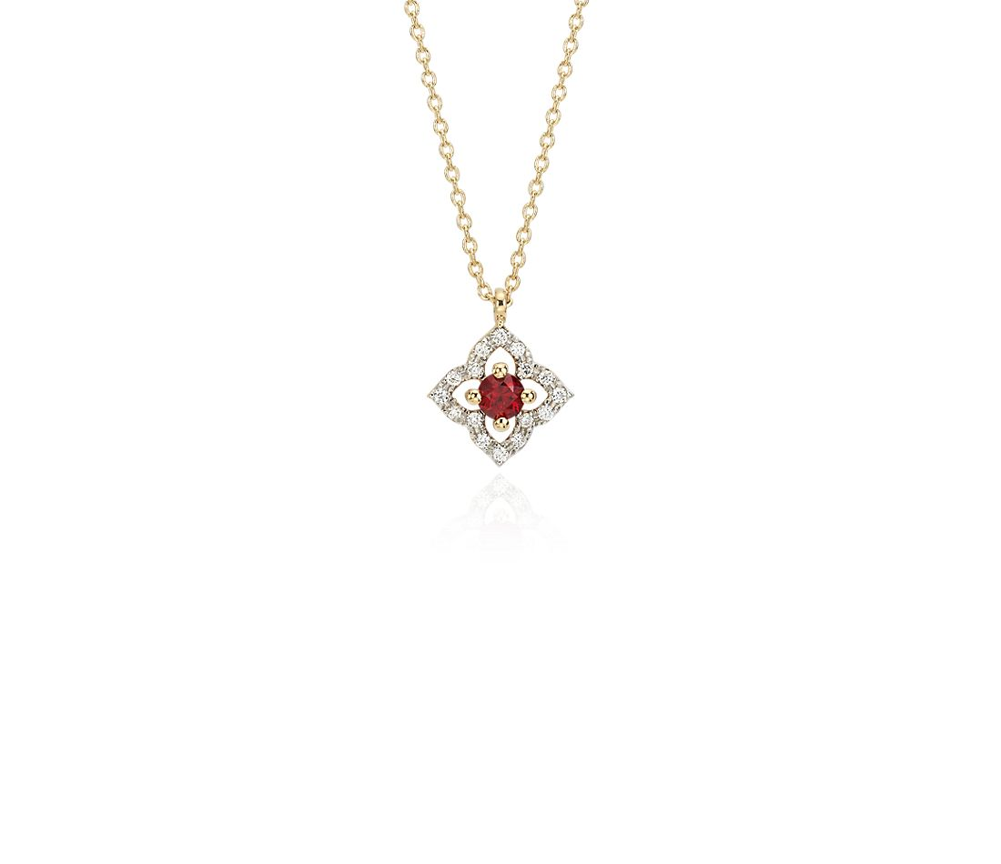 Petite Ruby Floral Pendant Necklace in 14k Yellow Gold (2.8mm)