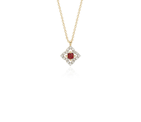 Petite Ruby and Diamond Floral Pendant in 14k Yellow Gold (2.8mm)