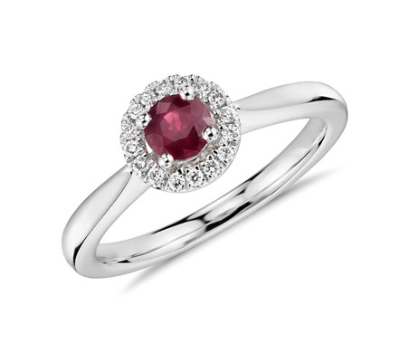 Petite Round Ruby and Diamond Pavé Halo Ring in 14k White Gold (4mm)