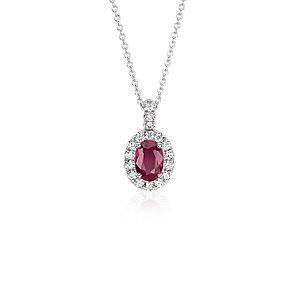 NEW Oval Ruby and Pavé  Diamond Pendant in 14k White Gold (7x5mm)