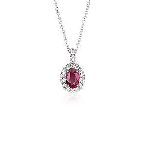 NOUVEAU Pendentif en diamants sertis pavé et rubis ovale en or blanc 14carats (7x5mm)