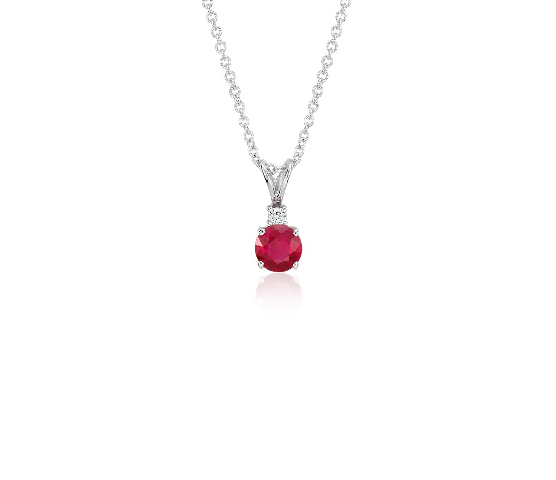 Ruby and Diamond Solitaire Pendant in 18k White Gold (5mm)