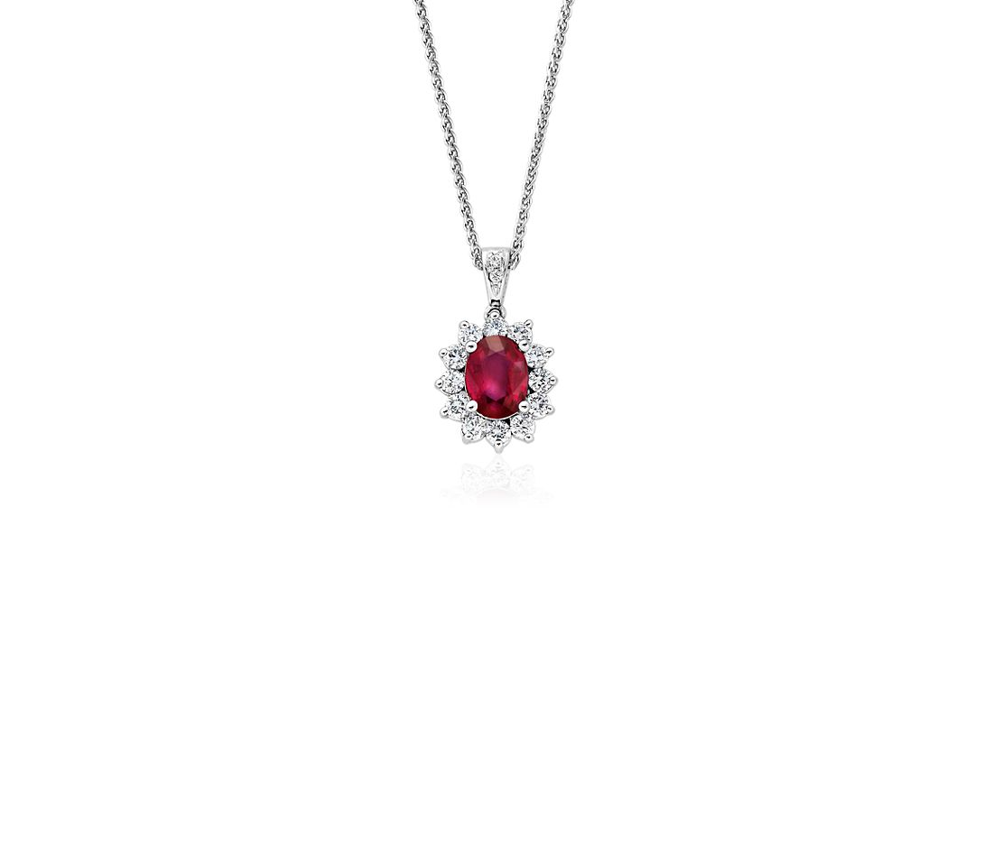 Ruby and Diamond Pendant in 18k White Gold (8x6mm)