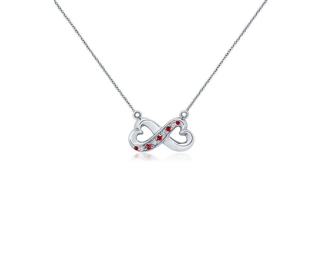 Ruby and Diamond Infinity Pendant in 18k White Gold (0.06 ct. tw.)