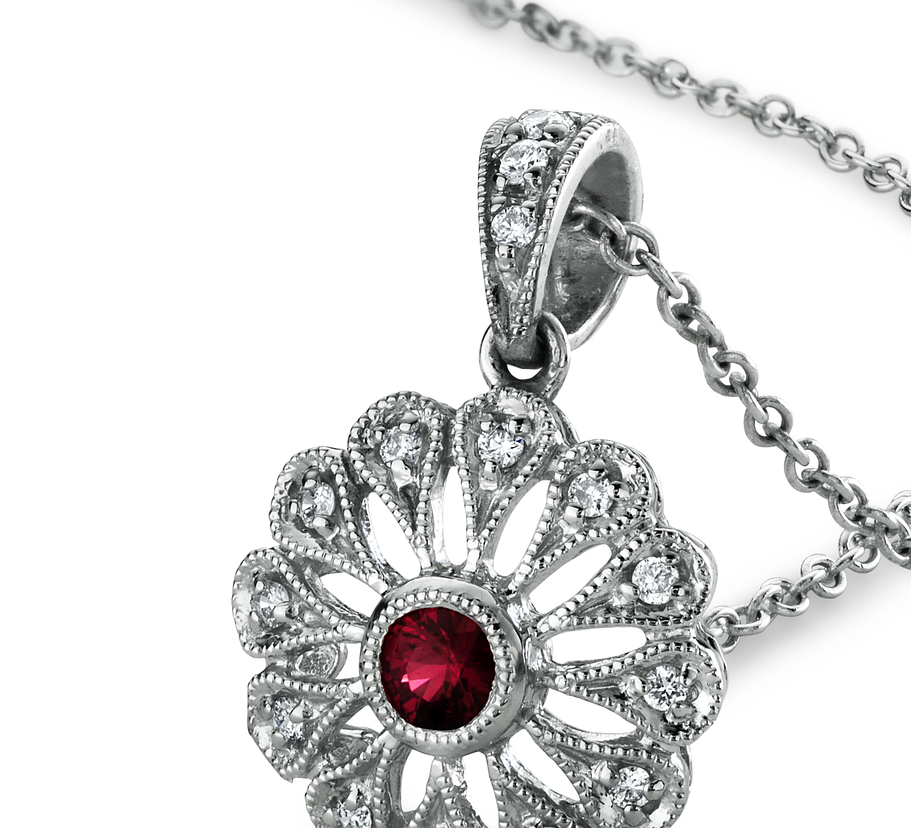 Ruby and Diamond Filigree Pendant in 18k White Gold (0.10 ct. tw.)