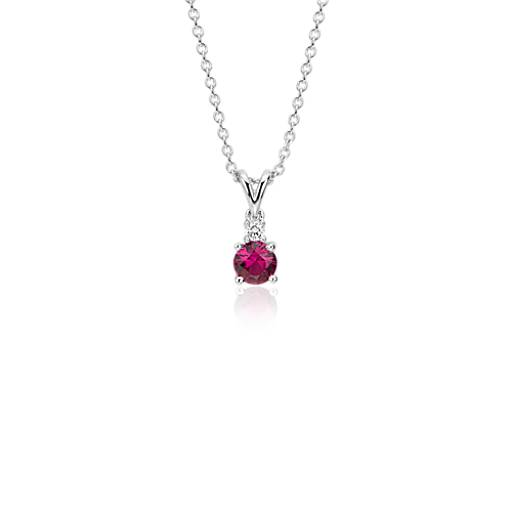 ruby and diamond solitaire pendant in 18k white gold 4
