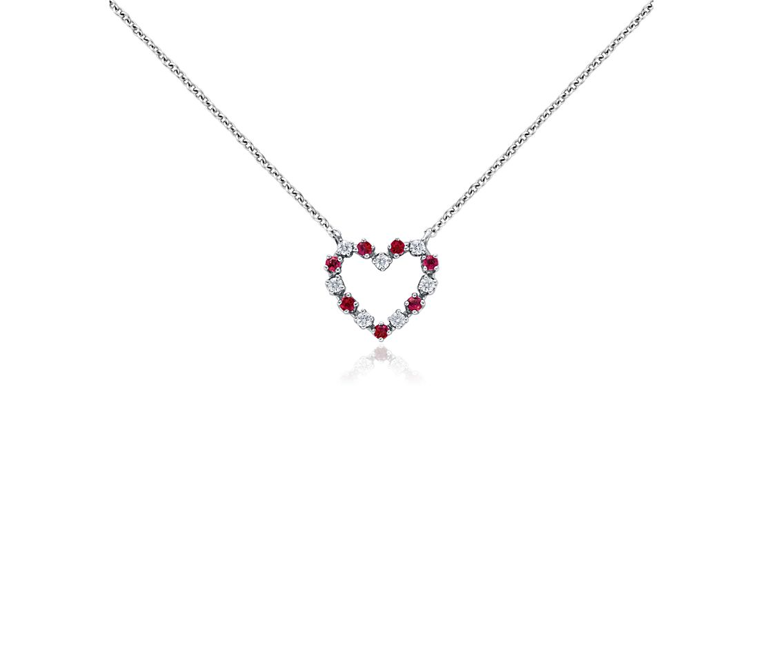 fc50ea2ed Ruby and Diamond Heart Pendant in 18k White Gold (0.13 ct. tw ...