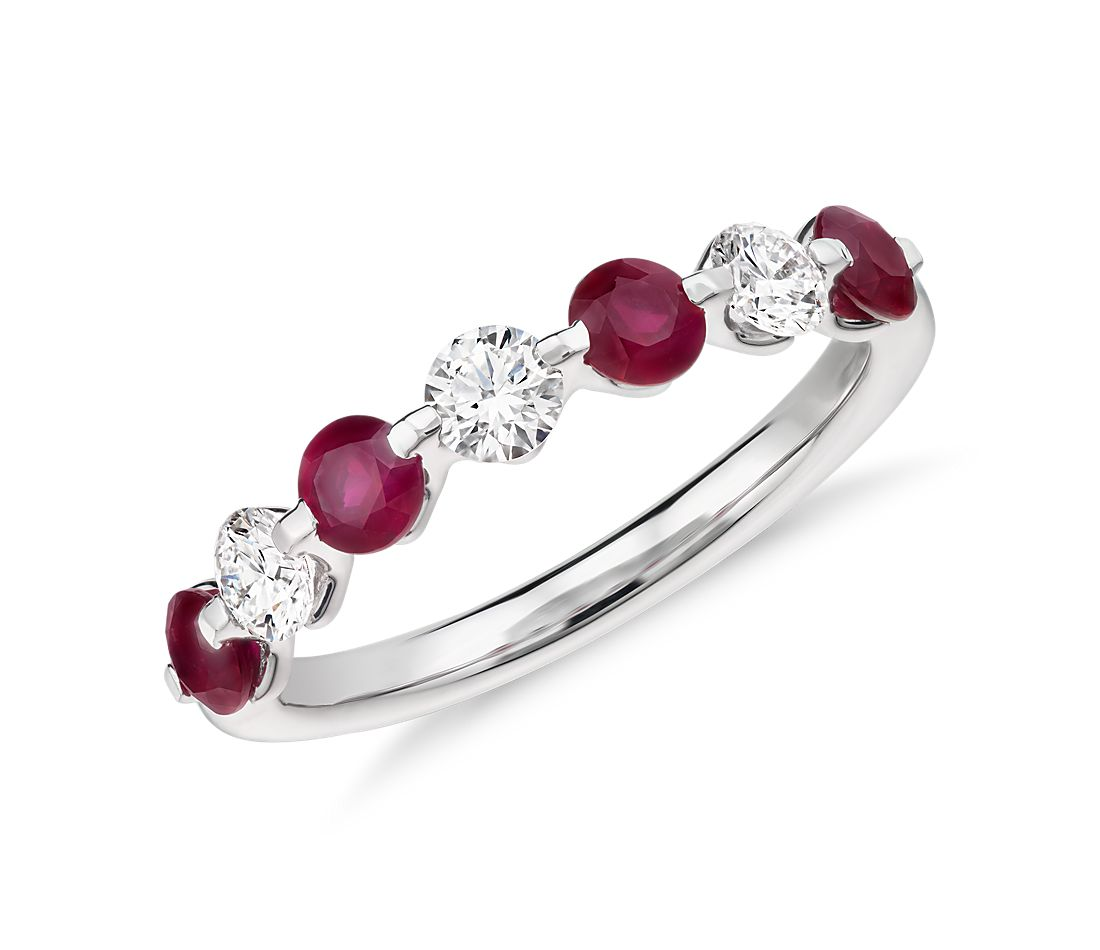 Classic Floating Ruby and Diamond Ring in Platinum (3/8 ct. tw.)