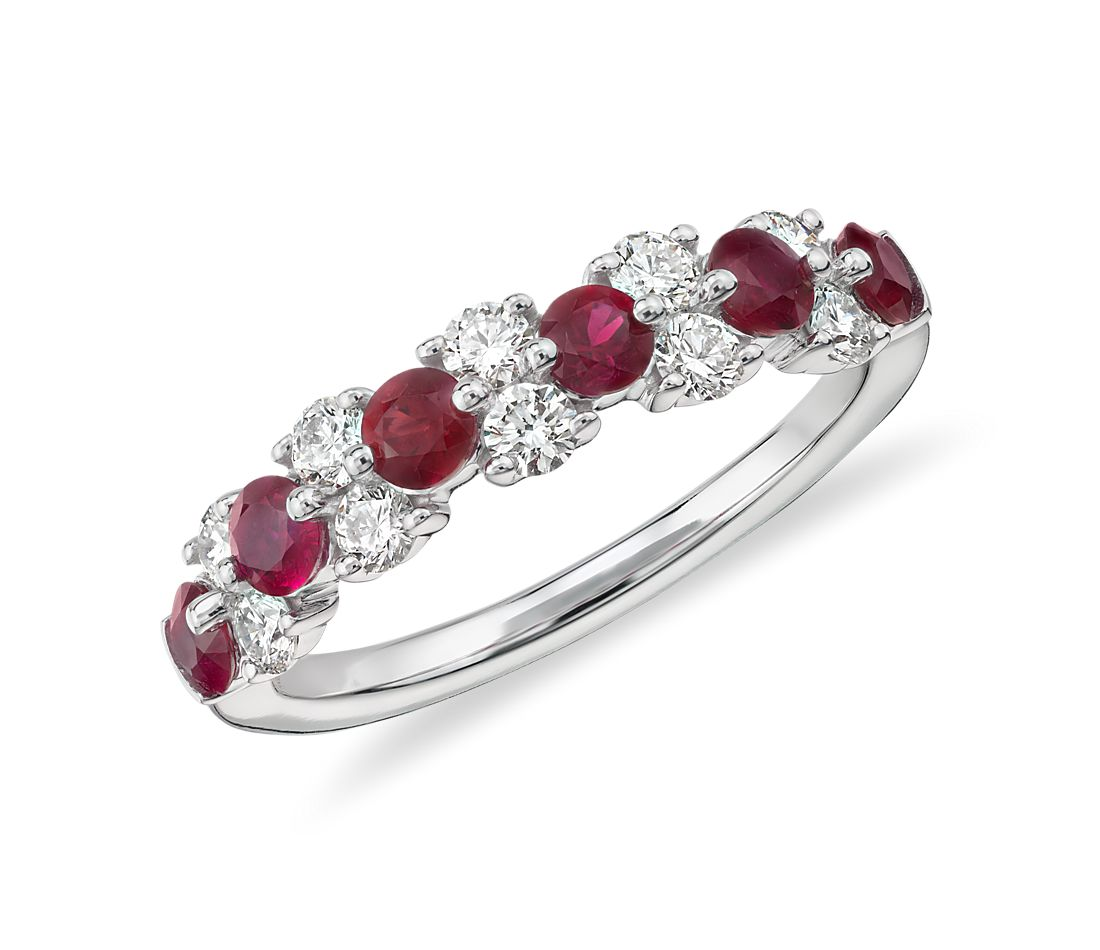 Ruby and Diamond Garland Ring in 18k White Gold (1/2 ct. tw.)