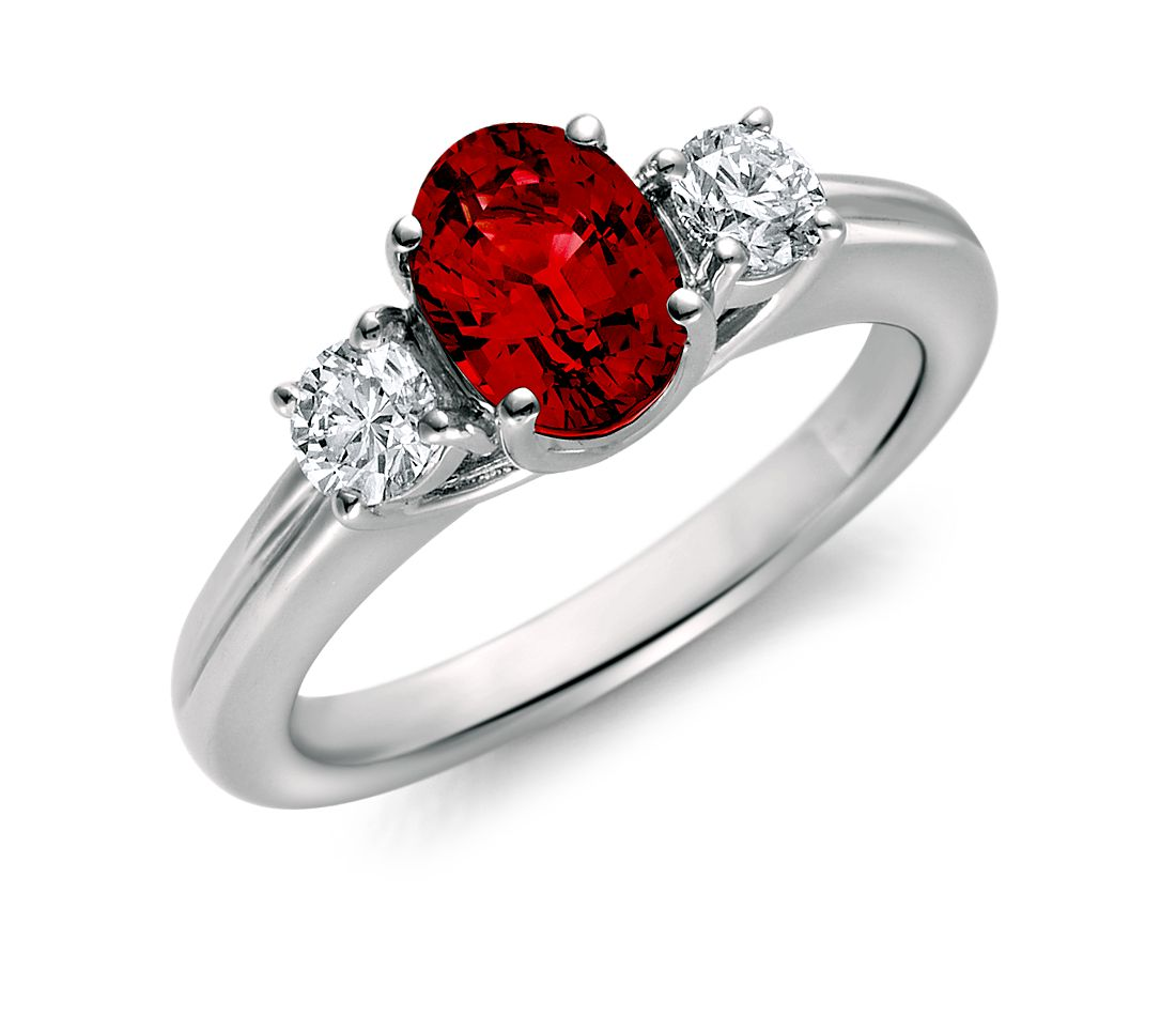 Ruby and Diamond Ring in 18k White Gold (8x6mm)