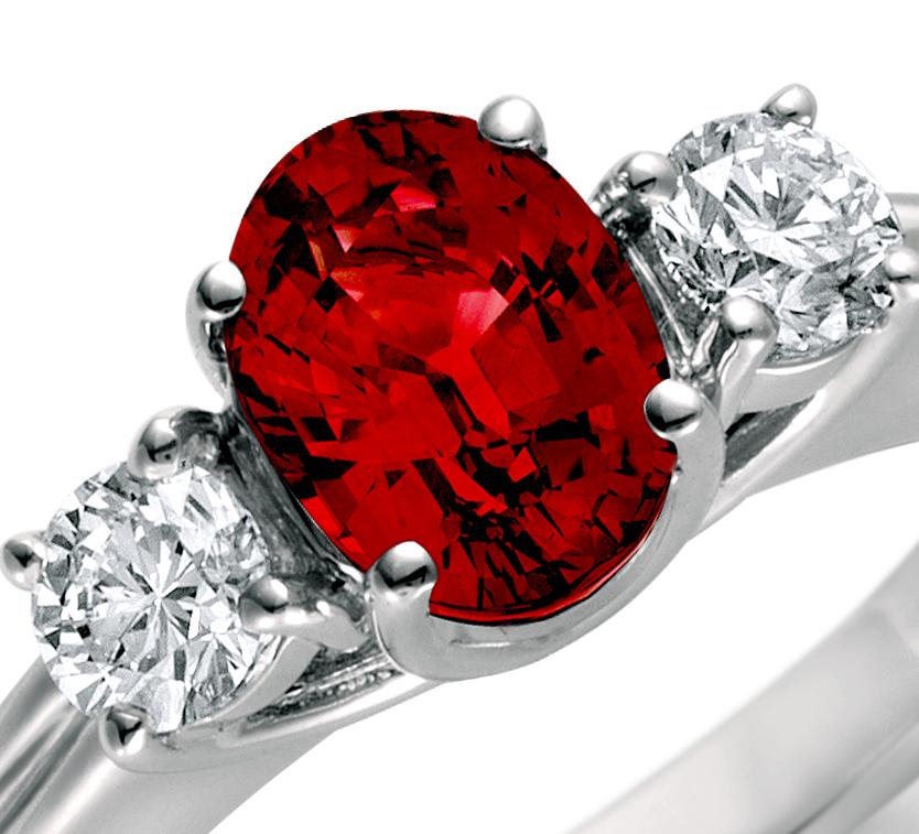 Bague diamant et rubis en or blanc 18carats (8x6mm)