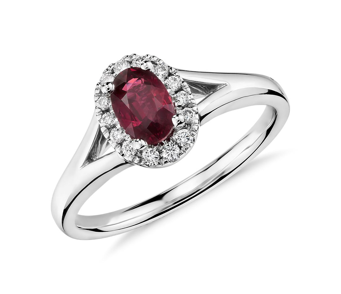 Oval Ruby And Diamond Halo Ring In 18k White Gold 6x4mm