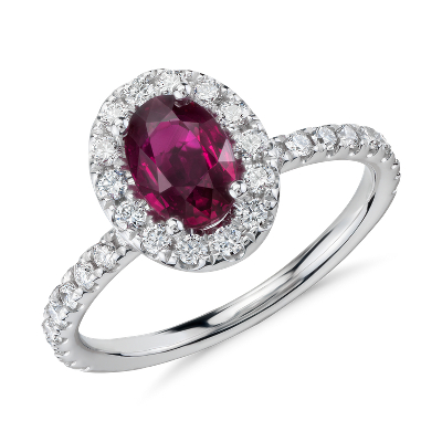 Oval Ruby and Diamond Halo Ring in 14k White Gold 7x5mm Blue Nile