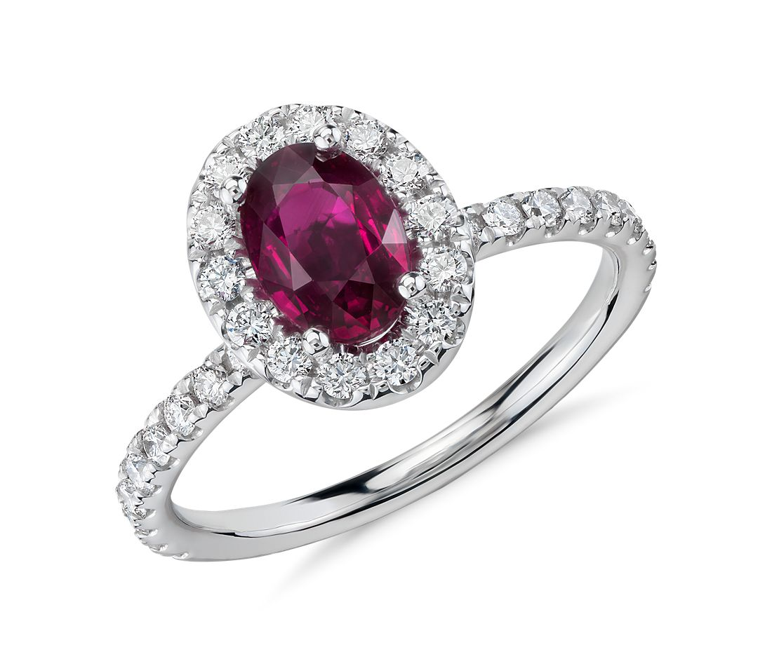 Oval Ruby and Diamond Halo Ring in 14k White Gold