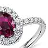 Oval Ruby and Diamond Ring in 14k White Gold (7x5mm)