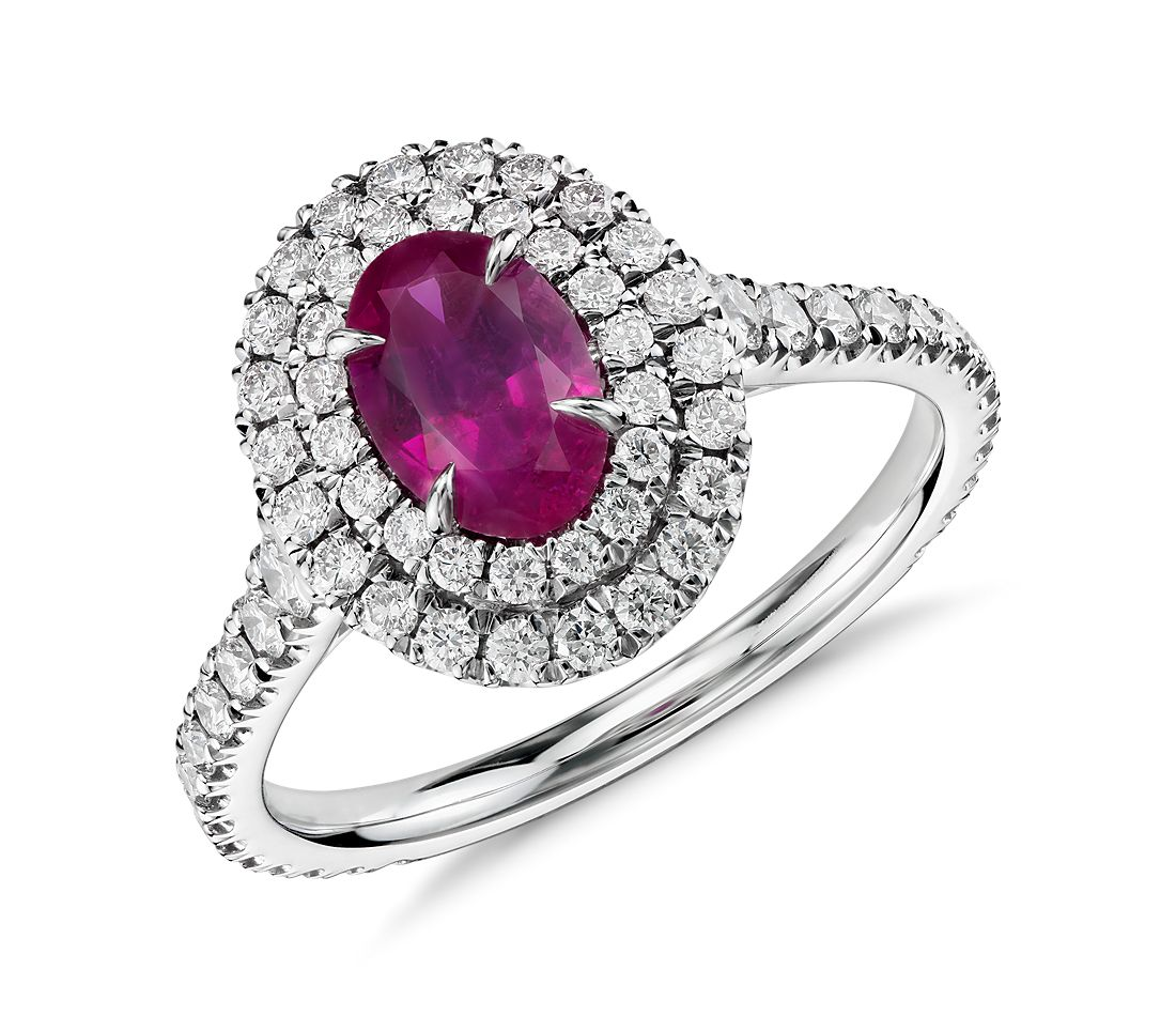 Ruby And Diamond Double Halo Ring In 18k White Gold 0 98