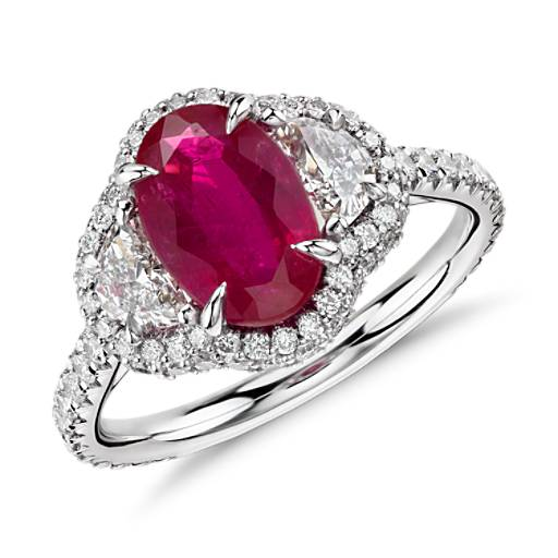 ruby and halfmoon diamond halo ring in platinum and 18k