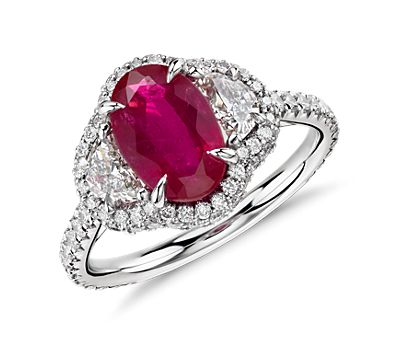 Ruby and Half-Moon Diamond Halo Ring in Platinum and 18k Yellow Gold (2.24 ct)