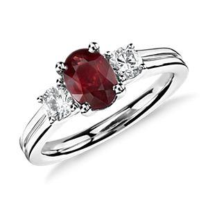 Bague diamant et rubis en or blanc 18carats (7x5mm)